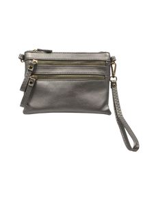 Champagne Metallic Double Zipper Vegan Crossbody Purse