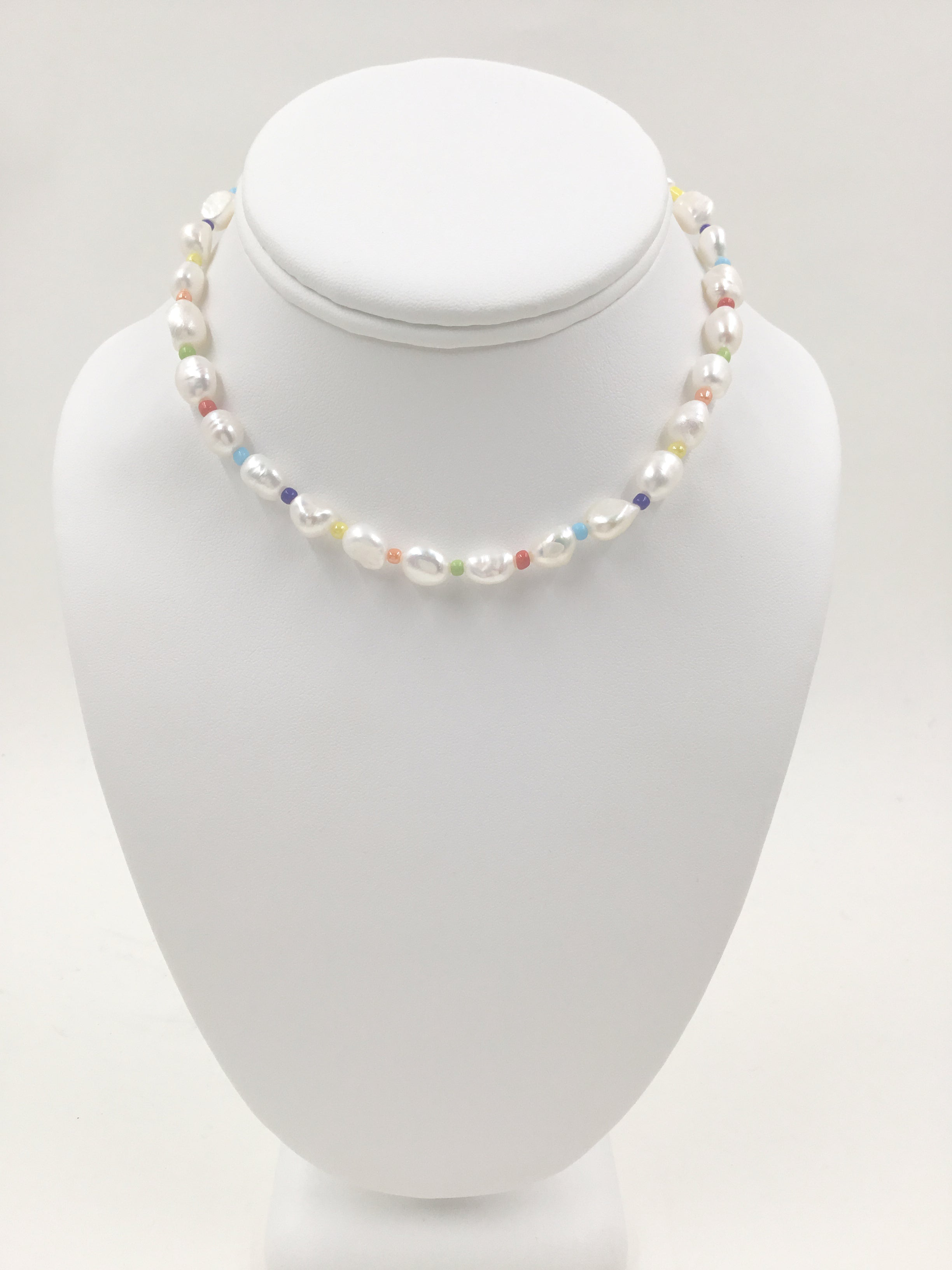 Rainbow String Pearl Choker Necklace