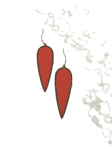 Enameled Spear Drop Earring