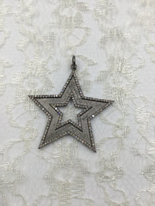 Sterling and Diamond Bordered Star Pendant