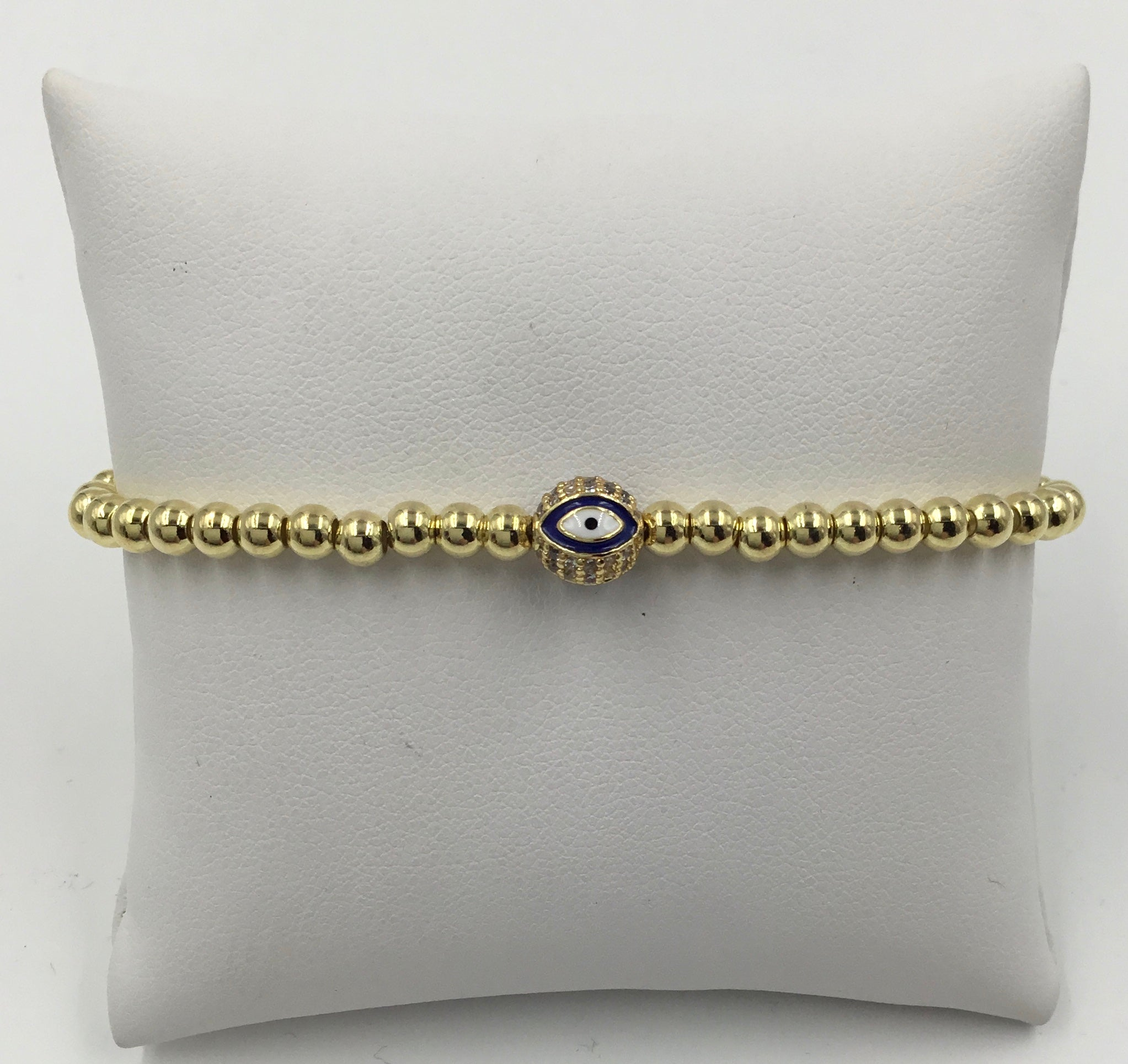 Metal Bead 5MM Evil Eye Bead Stretch Bracelet