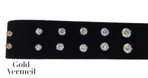 Sterling Vermeil Cubic Zirconia Stud Earrings 2 carat 2mm