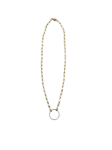 Delicate O Ring Gold and Silver Necklace