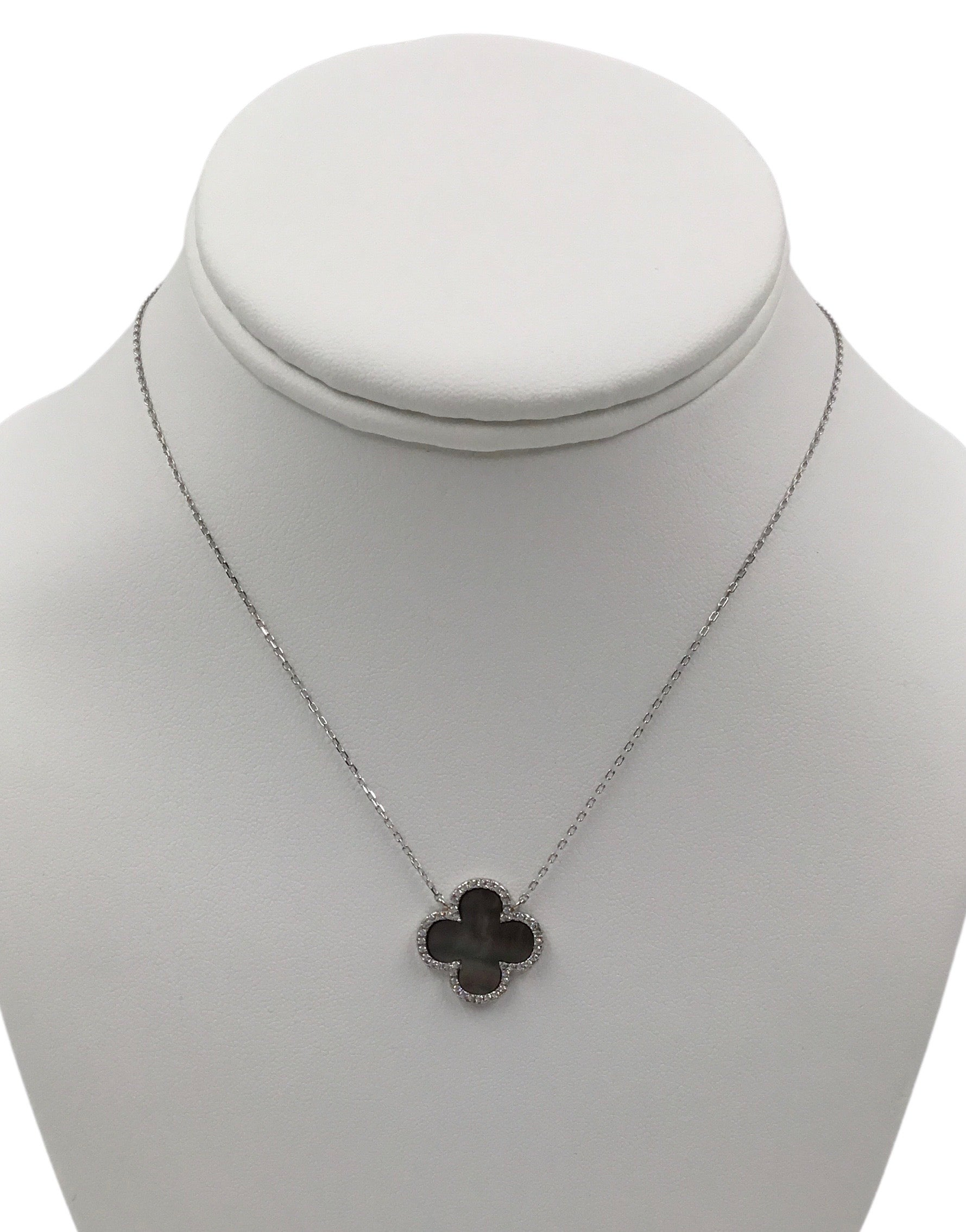 Mother of Pearl Clover and CZ Pendant  necklace