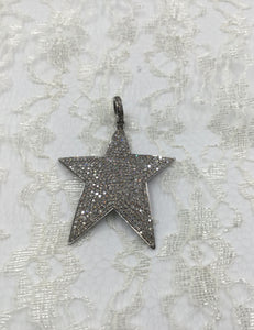 Diamond and Sterling Solid Pave Star Pendant