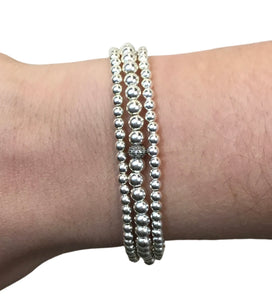 Sterling Bead and Pave Diamond Ball Bracelet Set