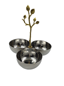 Stainless and Brass Vine Triple Snack Bowl