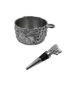 Arthur Court Grape Wine Caddy & Stopper Set