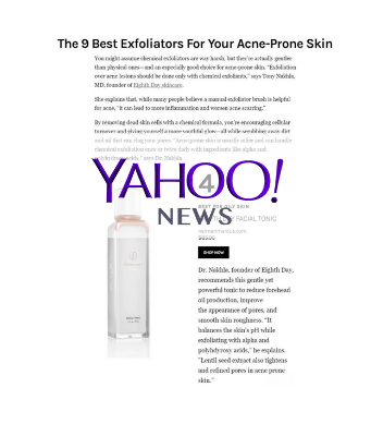 The 9 Best Exfoliators For Your Acne-Prone Skin [Yahoo!]