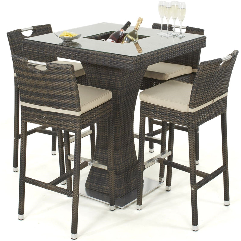 Pre-Order: 4 Seat Square Rattan Bar Set with Ice Bucket - TALOR Garden Furniture