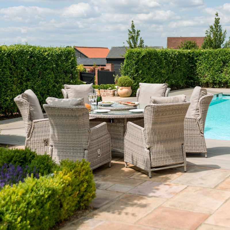 Pre-Order: Cotswold Reclining 6 Seat Round Dining Set - TALOR Garden Furniture