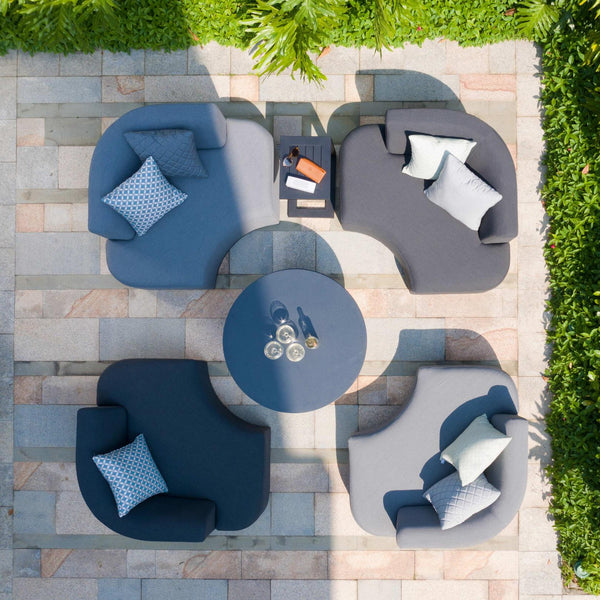 Pre-Order: Snug Lounge Set With Rising Table - Flanelle & Charcoal - TALOR Garden Furniture