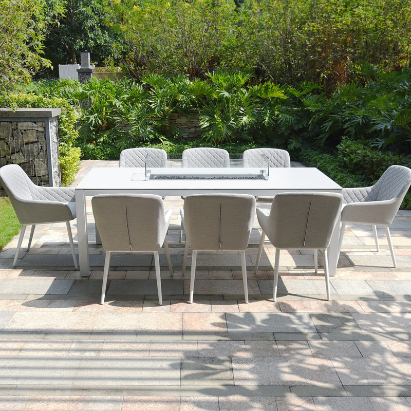 Zest 8 Seat Dining Set with Fire Pit Table - TALOR Garden Furniture