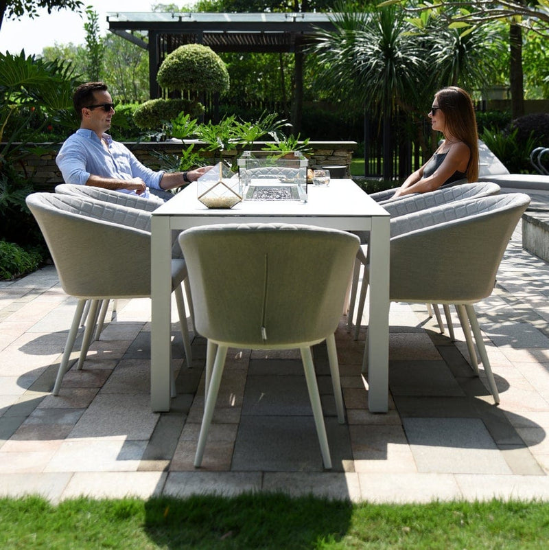 Pre-Order: Ambition 8 Seat Dining Set With Fire Pit Table - TALOR Garden Furniture