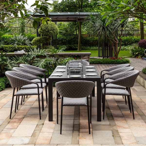 Pre-Order: Pebble 8 Seat Fire Pit Dining Set - TALOR Garden Furniture