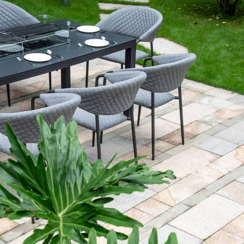 Pebble 8 Seat Outdoor Fabric Fire Pit Dining Set - TALOR Garden Furniture