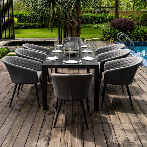Ambition 8 Seat Dining Set With Fire Pit Table - TALOR Garden Furniture