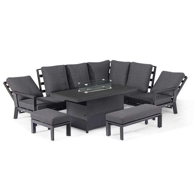 Pre-Order: Manhattan Reclining Corner Dining Set with Fire Pit Table - TALOR Garden Furniture