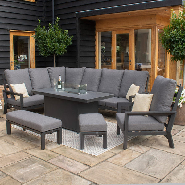 Pre-Order: Manhattan Reclining Corner Dining Set with Fire Pit Table & Armchair - TALOR Garden Furniture