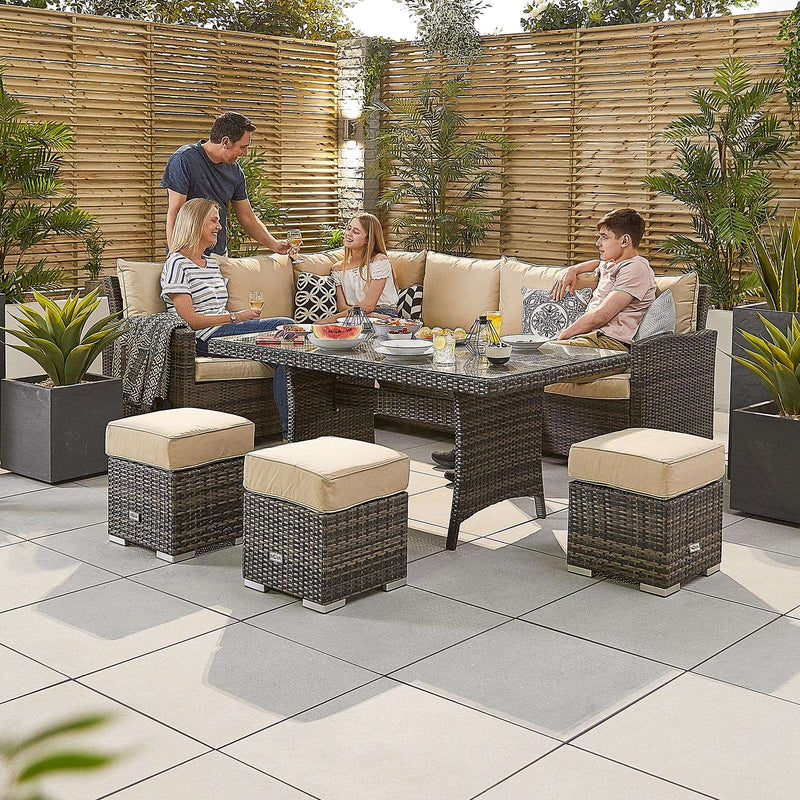 Cambridge Corner Dining Set with Casual Table - Left Hand - TALOR Garden Furniture