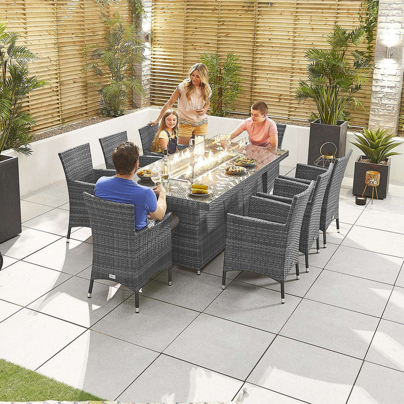 Pre-Order: Amelia 8 Seat Dining Set with Fire Pit - 2m x 1m Rectangular Table - TALOR Garden Furniture