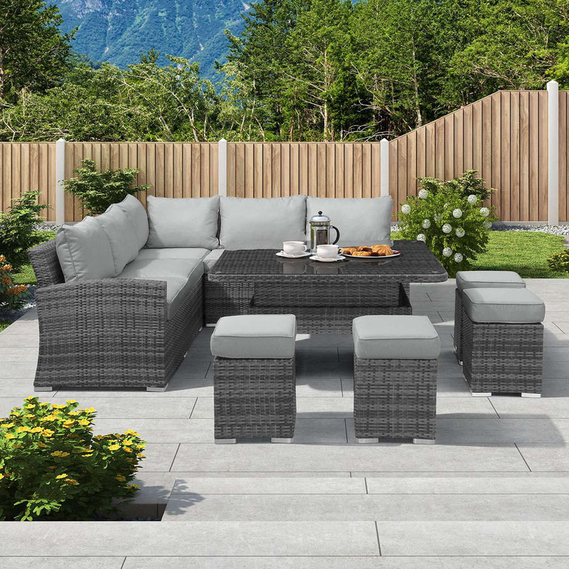 Pre-Order: Cambridge Deluxe Corner Dining Set with Rising Table - Grey - TALOR Garden Furniture