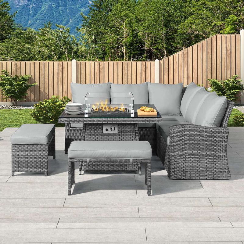 Pre-Order: Cambridge Compact Corner Dining Set with Fire Pit Table - TALOR Garden Furniture
