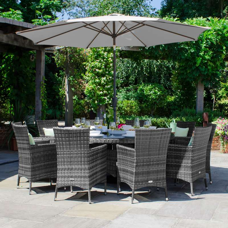 Pre-Order: Amelia 10 Seat Dining Set - 1.8m Round Table - TALOR Garden Furniture