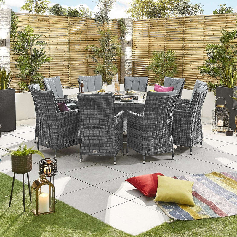 Pre-Order: Sienna 10 Seat Round Dining Set - Grey - TALOR Garden Furniture