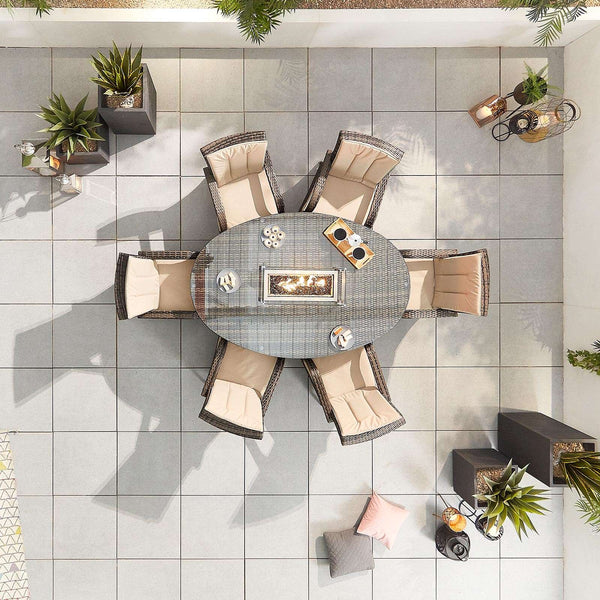 Pre-Order: Olivia 6 Seat Dining Set with Fire Pit - Brown - TALOR Garden Furniture