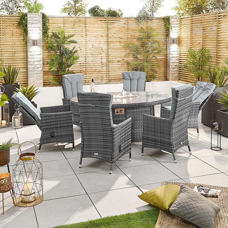 Pre-Order: Ruxley 6 Seat Oval Dining Set with Fire Pit - Grey - TALOR Garden Furniture
