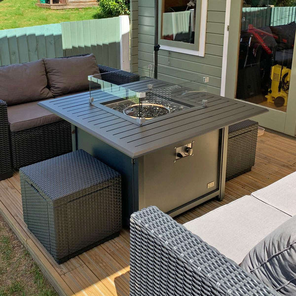 Pre-Order: Mercury Aluminium Square Fire Pit Table - TALOR Garden Furniture