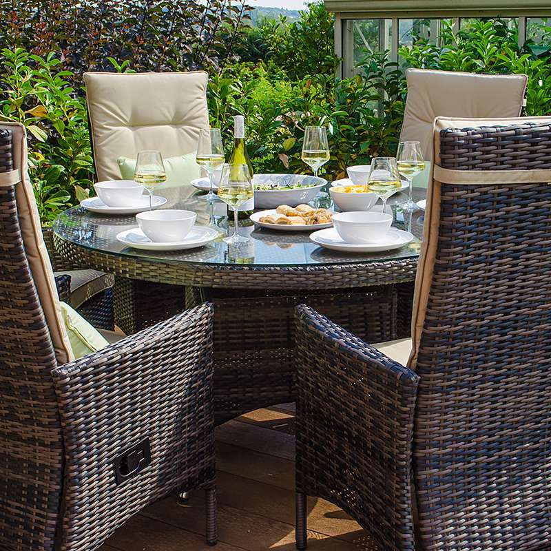 Pre-Order: Ruxley 6 Seat Dining Set - 1.3m Round Table - Brown - TALOR Garden Furniture