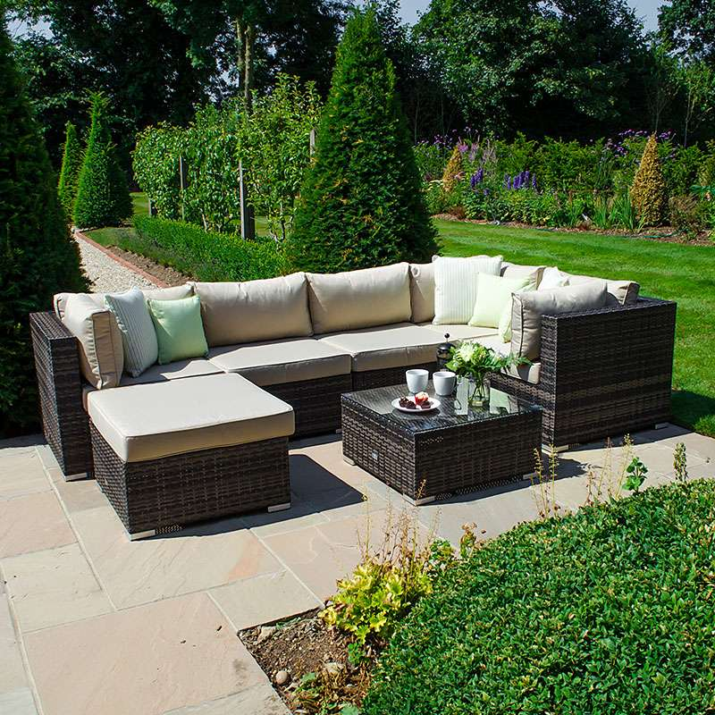 Chelsea Corner Sofa Set - Brown - TALOR Garden Furniture