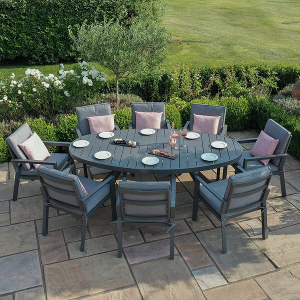 Pre-Order: New York 8 Seat Oval Dining Set - TALOR Garden Furniture