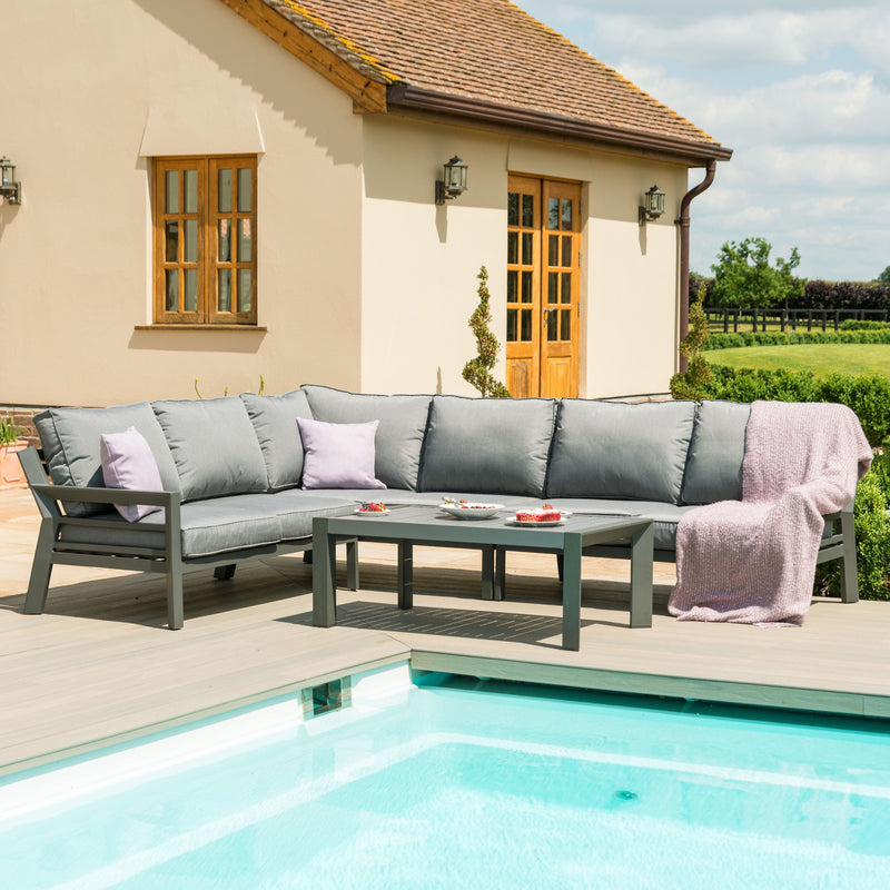 Pre-Order: New York Corner Sofa Set- Grey - TALOR Garden Furniture