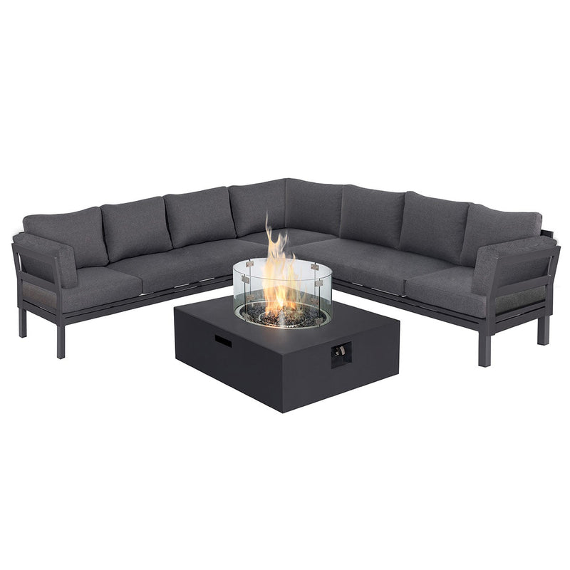 Pre-Order: Oslo Large Corner Group with Square Fire Pit Table - TALOR Garden Furniture