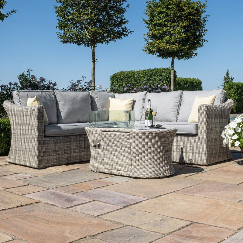 Pre-Order: Oxford Small Corner Sofa Set with Fire Pit Coffee Table - TALOR Garden Furniture