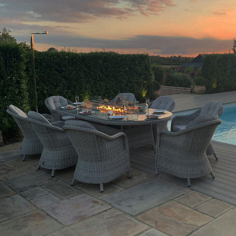 Pre-Order: Oxford 8 Seat Oval Fire Pit Dining Set - TALOR Garden Furniture