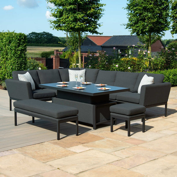 Pre-Order: Pulse Rectangular Corner Dining Set With Rising Table - TALOR Garden Furniture