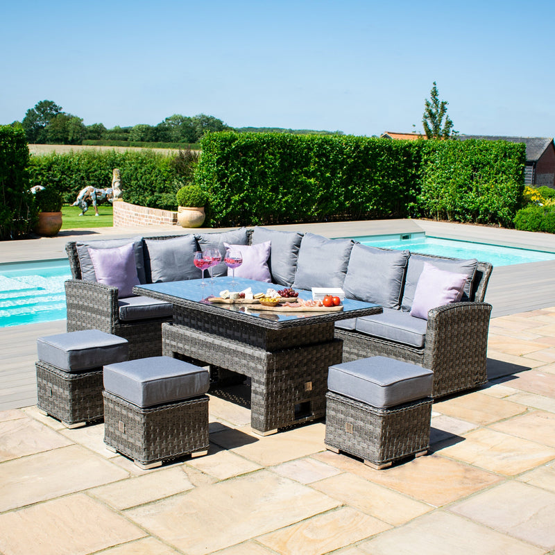Pre-Order: Victoria Rectangular Corner Dining Set with Rising Table - TALOR Garden Furniture
