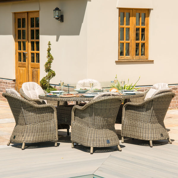 Pre-Order: Winchester 6 Seat Oval Fire Pit Dining Set - TALOR Garden Furniture