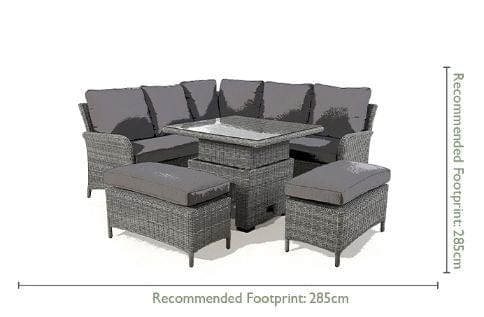Pre-Order: Ascot Square Rattan Corner Dining Set with Rising Table - TALOR Garden Furniture