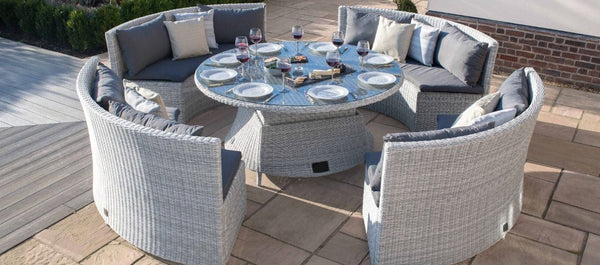 Pre-Order: Ascot Rattan Round Sofa Dining Set with Rising Table - TALOR Garden Furniture