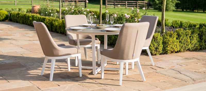 Pacific 4 Seat Round Dining Set - Taupe - TALOR Garden Furniture