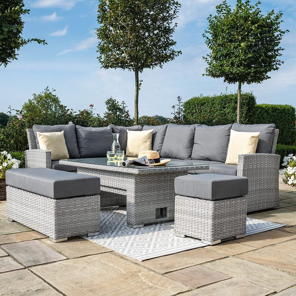 Pre-Order: Ascot Rectangular Rattan Corner Dining Set with Rising Table - TALOR Garden Furniture