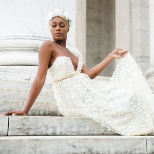 Brittany Christina Collection - Bohemian Bride on Steps