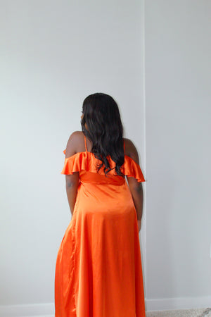 Satin Ruffle Wrap Dress