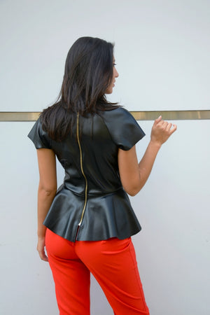 Leather Peplum Top
