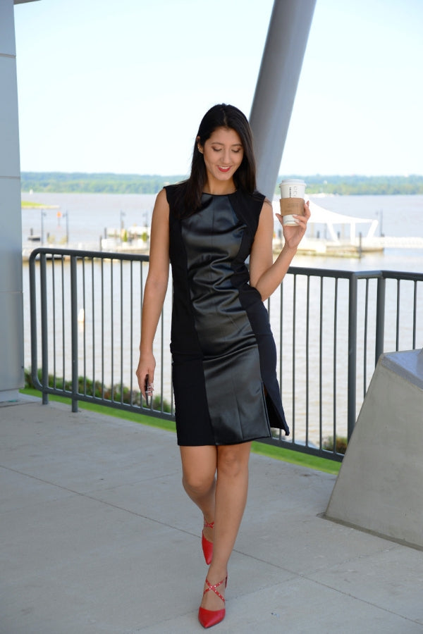 Two-Tone Leather Dress
